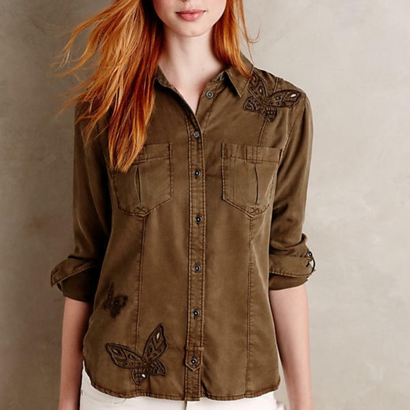NWT ANTHROPOLOGIE Embroidered Butterfly Buttondown